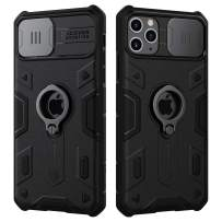 Nillkin iPhone 11 Pro Max Case, CamShield Armor Case with Slide Camera Cover, PC & TPU Impact-Resistant Bumpers Protective Case with Ring Kickstand for iPhone 11 Pro Max 6.5 inch (2019) - Black
