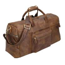 Polare 20'' Full Grain Cowhide Leather Weekender Duffle Bag Overnight Luggage Travel Duffel Bag For Men