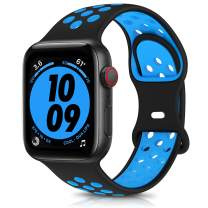 OYODSS Sport Bands Compatible with Apple Watch Band 38mm 40mm 42mm 44mm, Breathable Soft Silicone Replacement Wristband Strap Compatible with iWatch Series 6 5 4 3 2 1 SE Women Men Black&Blue