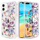 Caka Clear Case for iPhone 11 Flower Clear Case Floral Pattern Design for Girls Women Girly Cute Slim Soft TPU Transparent Shockproof Protective Case for iPhone 11 (Purple)