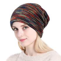 ANUIMOAR Soft Striped Slouchy Beanie Hat Cap Winter Knit Soft Cozy Skull Cap for Women and Girls