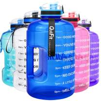 QuiFit Motivational Gallon Water Bottle - with Time Marker & Infuser & Flip Top 128/73 oz Leak-Proof Reusable Water Jug for Fitness Outdoor Sports Enthusiasts BPA Free