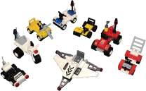 Brick Building Mini Vehicles Variety STEM Toys 8-Pack Set - Birthday Party Favors for Boys and Girls - Toy Cars - Two Police, Two Fire, Two Space and Two Construction Vehicles - Fun Building Toys