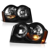 VIPMOTOZ Black Housing OE-Style Headlight Headlamp Assembly For 2005-2007 Jeep Grand Cherokee, Driver & Passenger Side