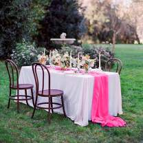 QueenDream 10Ft Chiffon Table Runner for Wedding Decor Boho Party Bridal Shower Home Table Decorations (5, Rose Red)