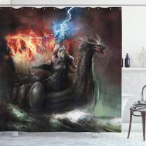"Ambesonne Dragon Shower Curtain, Imaginary Wrath of Vikings Royal Boat with Dragon Head Storm Rays, Cloth Fabric Bathroom Decor Set with Hooks, 75"" Long, Charcoal Red"