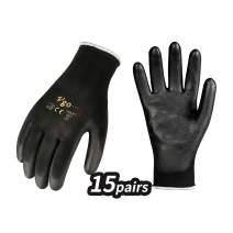 Vgo 15Pairs Polyurethane Coated Gardening and Work Gloves (Size S,Black,PU2103)