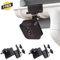 Weatherproof Gutter Mount for XT2 Outdoor Camera with Universal Screw Adapter - by Wasserstein - Best Viewing Angle for Your Surveillance Camera (2 Pack, Black)