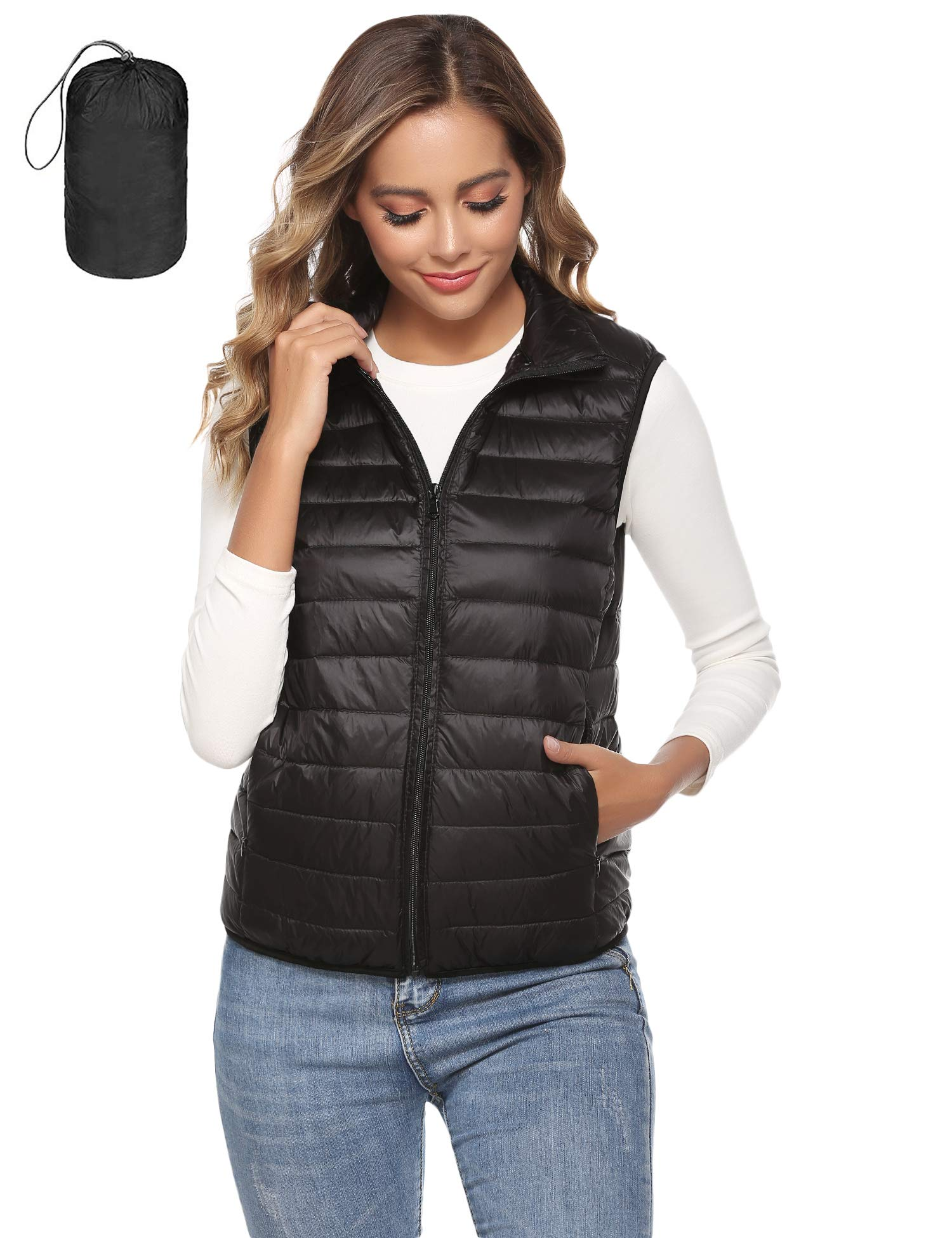 Hawiton Women's Lightweight Down Packable Vests Alternative Outerwear Zipper Vest Jacket