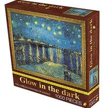 The Starry Night 1000 Piece Jigsaw Puzzle Glow in The Dark for Adults – Every Piece is Unique, Softclick Technology Pieces Fit Together Perfectly