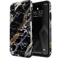 BURGA Phone Case Compatible with iPhone X/XS - Black and Gold Onyx Marble Golden Stone Cute Case for Women Heavy Duty Shockproof Dual Layer Hard Shell + Silicone Protective Cover