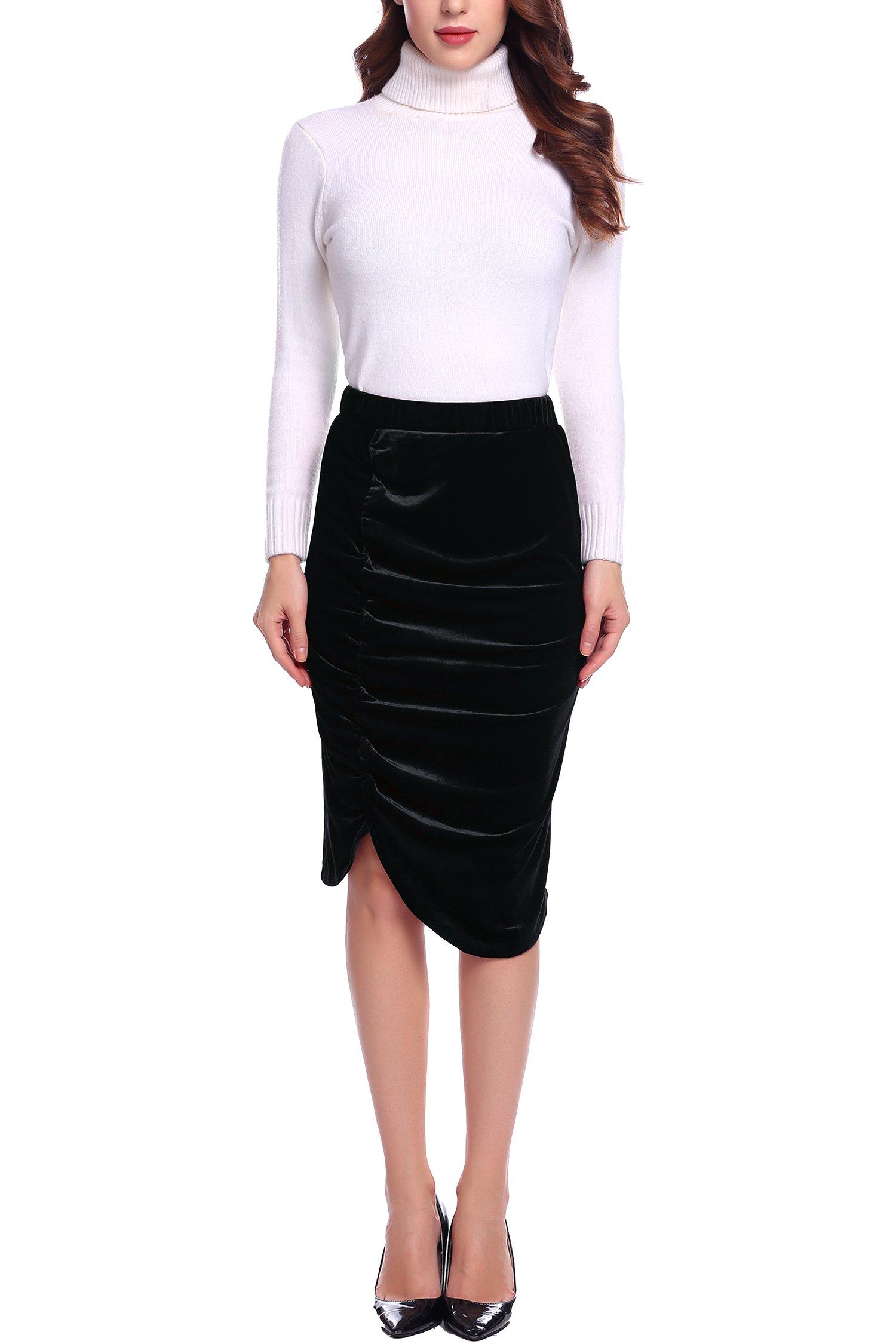 Zeagoo Elegant High Waist Midi Skirts Stretchy Velvet Pencil Ruched Skirt for Women