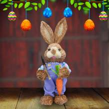 SEASONBLOW Funny Sisal Easter Bunny, Shovel and Carrot in Hands, Holiday Home Decoration Birthday Gift, 13 Inches