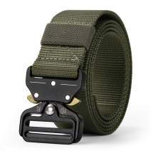 WERFORU Tactical Belt, Military Style Webbing Riggers Nylon Belt with Heavy-Duty Quick-Release Metal Buckle 1.5 Inches Wide