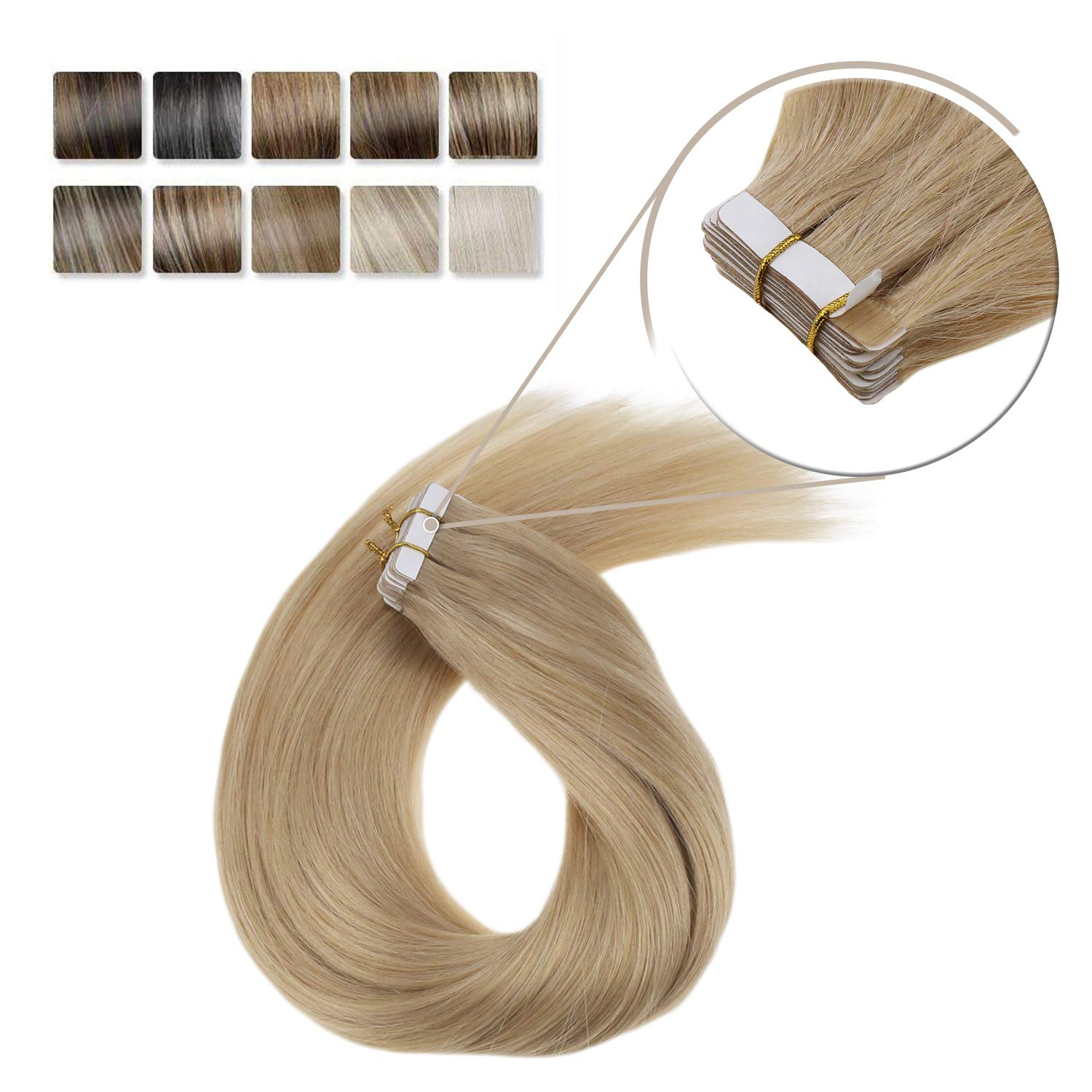 LaaVoo 24 Inch Tape on Hair Extensions Human Dark Honey Blone Glue in Real Weft Silky Straight Hair Extensions Skin Weft Real Natural Straight Solid Color 20pcs 50g/Pack