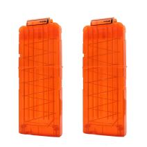 Hosim Reload Clip for Nerf, 2 Pcs Soft Bullet Clips High Capacity12-Dart Magazines for Nerf N-Strike Kid's Toy Gun - Transparent Orange