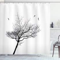 """Ambesonne Black and White Shower Curtain, Silhouette of a Tree and Flying Birds Simple Minimalistic Design Artwork, Cloth Fabric Bathroom Decor Set with Hooks, 75"""" Long, Black White"""