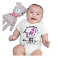 Personalized Custom Name First Mothers Day Baby Boy Girl Mom Onesie Bodysuit White