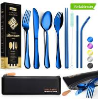 Reusable Utensils with Case - Travel Utensils - Portable Flatware Stainless Set with Waterproof Case and Straw, Knife, Fork, Spoon, Spork (Blue, Portable size)