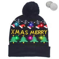 DQFAQYY Unisex LED Light Up Christmas Hat Novelty Beanies Knitted Xmas Party Cap Ugly Sweater Accessories 6 Lights
