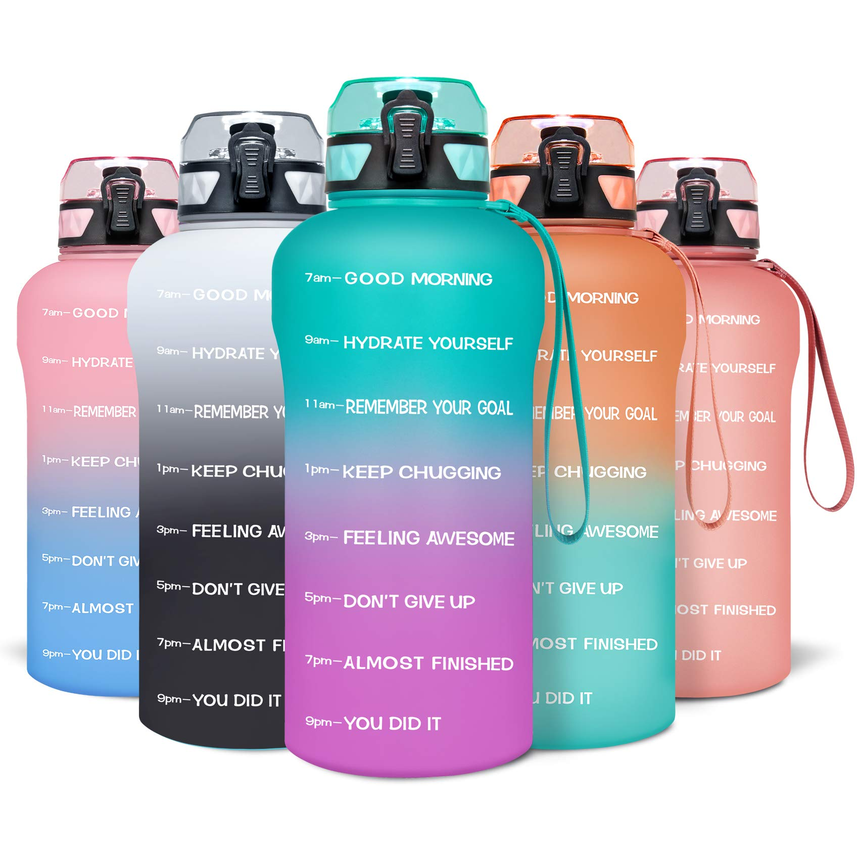 Venture Pal Motivational Half Gallon Water Bottle with Time Marker, Big 64oz Leakproof BPA Free Daily Water Reminder to Ensure You Drink Enough Water Daily