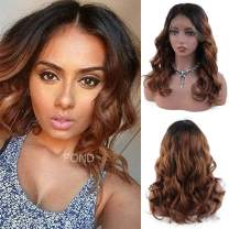 FOND Body Wave Ombre Human Hair Wig for Women 100% Brazilian Virgin Human Hair Lace Front Wig with Baby Hair Pre Plucked Natural Hairline Wig(16inch, T1b/30)
