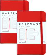 "2-Pack Pocket Notebook Journal Notepad Small, College Ruled, 3.7"" x 5.6"", Hard Cover Mini Journal, 100 GSM Thick Paper, Inner Pocket (Red Lined)"
