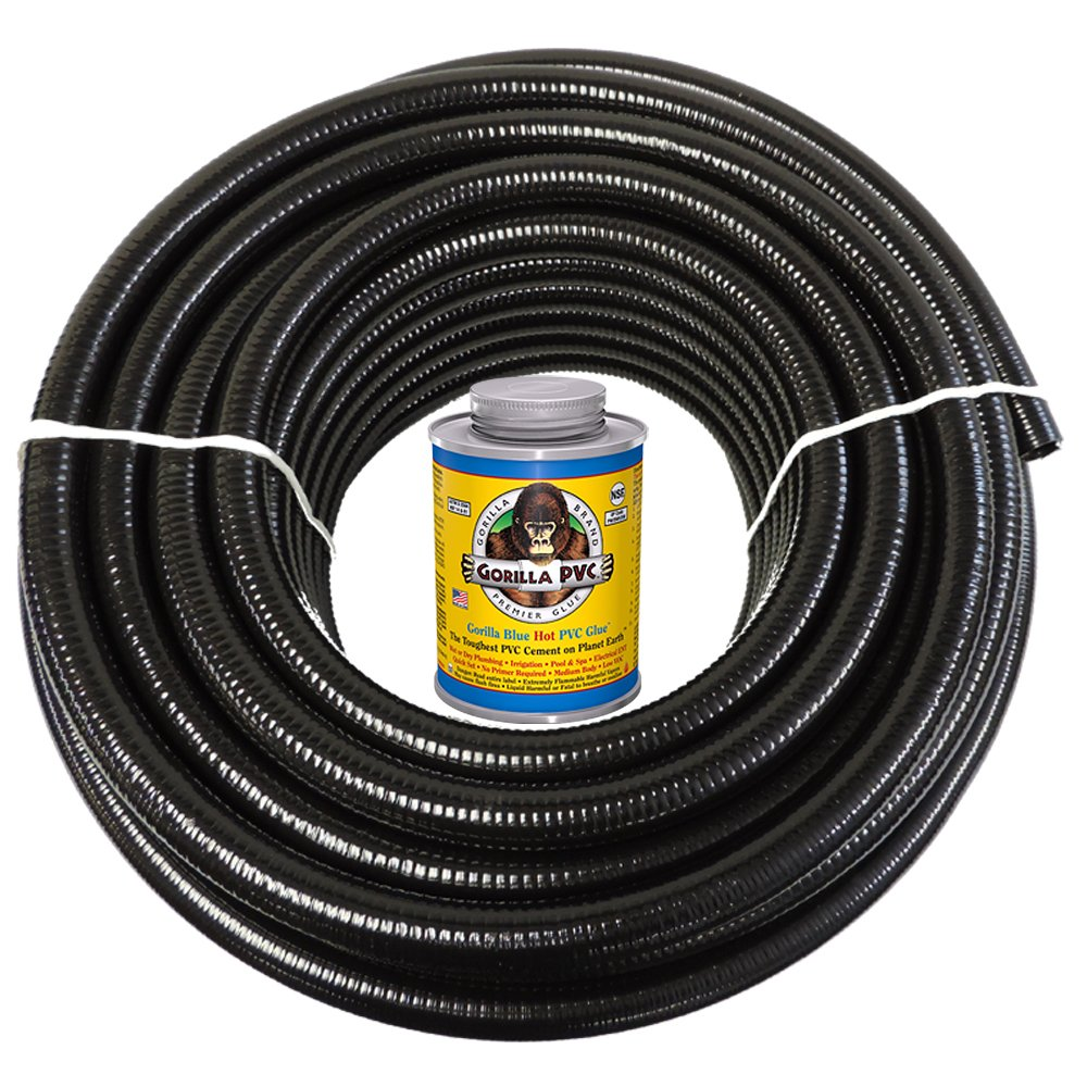 HYDROMAXX 50 Feet x 1/2 Inch Black Flexible PVC Pipe, Hose and Tubing for Koi Ponds, Irrigation and Water Gardens. Includes Free 4oz Can of Hot Blue PVC Gorilla Glue!