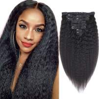 Sibaile 12 Inch Kinky Straight Clip in Hair Extensions for Women, Real Thick, Lace Weft, 8A Unprocessed Virgin Human Hair Kinky Straight Clip ins, Natural Black Color 120g 8Pcs/Set with 18 Clips