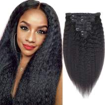 Sibaile 16 Inch Kinky Straight Clip In Human Hair Extensions, Real Thick, Lace Weft, 8A Unprocessed Remy Human Hair For Women, Natural Black Color 120g 8Pcs/Set with 18 Clips