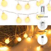 16 FT 50 LED Globe Ball String Lights, Fairy String Lights with USB Plug & Battery Case, 8 Modes with Remote, Decor for Indoor Outdoor Party Wedding Christmas Tree Garden, Warm White
