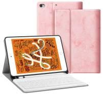 iPad Keyboard Case for iPad Mini 7.9, iPad Mini 5 2019 5th Gen iPad Mini 4 JUQITECH Smart Case with Keyboard Removable Wireless Magnetic Keyboard Soft Back Folio Case Cover with Pencil Holder, Pink