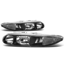 Pair of Black Housing Clear Corner Headlight Assembly Lamps Replacement for Oldsmobils Alero 99-04