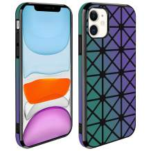 Oheealt Cell Phone Cases for iPhone 11, Gradient Cubes Geometry Earthquake Resistance Anti-Fall Bumper Canvas+PU Composite 360° Full-Body Protective Cover Case for iPhone 11 6.1 inch - Black
