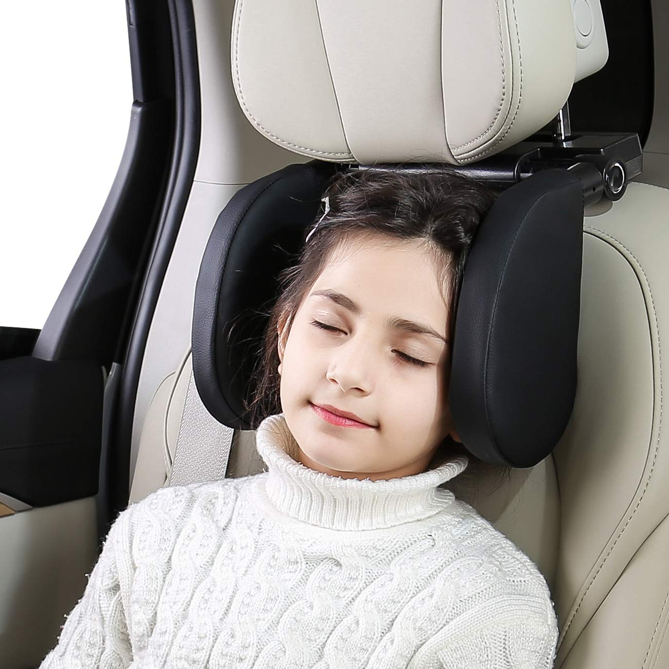 ABE Car Headrest Pillow - Road Pal Headrest - Adjustable Leather Car Seat Head Neck Support Resting Pillow - Detachable Car Travel Sleeping Pillow for Kids Adults. (Black)
