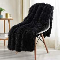 Noahas Shaggy Longfur Throw Blanket with Sherpa Warm Underside, Super Soft, Cozy Large Plush Fuzzy Faux Fur Blanket, Washable Couch or Bed Throws Christmas Decorative Gift Ideal 60x80, Black