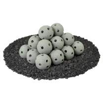 Hollow Ceramic Fire Balls | Set of 20 | Modern Accessory for Indoor and Outdoor Fire Pits or Fireplaces – Brushed Concrete Look | Pewter Gray, 3 Inch