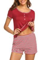 Ekouaer Women's Short Pajamas Sets V-Neck Folds Short Sleeve Prints Lace Sleepwear Cute Nightwear Pjs S-XXL