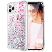 Caka Flower Case for iPhone 11 Pro Max Floral Glitter Case for Girls Women Bling Liquid Sparkle Flower Pattern TPU Cushion Protective Flowing Case for iPhone 11 Pro Max (6.5 inch)(Cherry Blossom)