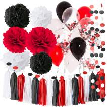 Pirate Party/Minnie Mouse Party Supplies White Black Red Balloons Pirate Birthday Party Decorations/ First Birthday Girl Decorations 2020 Graduation Party Decorations Minnie Mouse Birthday Party Decorations