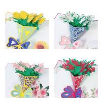 Wrapables 3D Pop-Up Greeting Cards for Birthday, Thank you, Anniversary, Wedding, Holidays (Set of 4), Flower Boutiques (Rose, Sunflower, Lily, Daffodil)