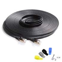 CableGeeker Cat7 Shielded Ethernet Cable 150ft (Highest Speed Cable) Flat Ethernet Patch Cable Support Cat5/Cat6 Network,600Mhz,10Gbps - Black Computer Cord + Free Clips and Straps for Router Xbox