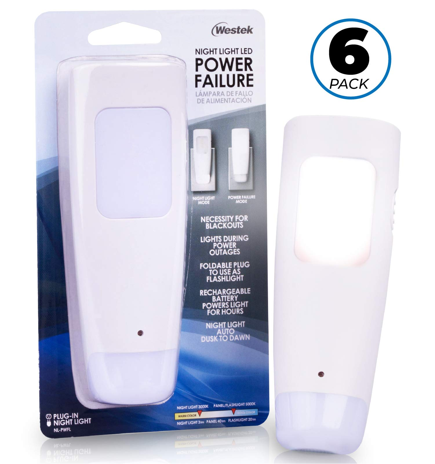 Westek Emergency Light, 6 Pack – Multi-Function LED Rechargeable Flashlight, Power Failure Light and Night Light – Must-Have Power Outage Lights, Ideal for Storms, Blackouts – NL-PWFL AmerTac