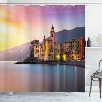 "Ambesonne Cityscape Shower Curtain, Old Mediterranean Town Camogli of Italy at Sunrise Colorful Scenic Landscape, Cloth Fabric Bathroom Decor Set with Hooks, 70"" Long, Yellow Peach"