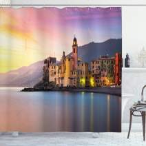 """Ambesonne Cityscape Shower Curtain, Old Mediterranean Town Camogli of Italy at Sunrise Colorful Scenic Landscape, Cloth Fabric Bathroom Decor Set with Hooks, 70"""" Long, Yellow Peach"""
