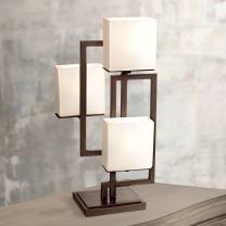Lighting on The Square Modern Table Lamp Roman Bronze Metal Geometric Opal Glass Square Shades for Living Room Family Bedroom Bedside - Possini Euro Design