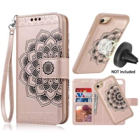 CASEOWL iPhone 8 Case,iPhone 7 Wallet Cases with Detachable Slim Case Fit Magnetic Car Mount, Card Solts Holder, Embossed Mandala Pattern Flower Floral Vegan Leather Flip Wallet Case [Rose Gold]
