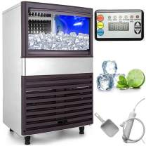 VEVOR 110V Commercial Ice Maker 110LBS/24H with 44LBS Bin Clear Cube, LED Panel, Stainless Steel, Auto Clean, Include Water Filter, Scoop, Connection Hose, Professional Refrigeration Equipment, Sliver