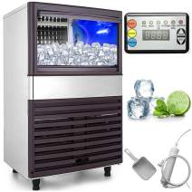 VEVOR 110V Commercial Ice Maker 132LBS/24H with 44LBS Bin Clear Cube, LED Panel, Stainless Steel, Auto Clean, Include Water Filter, Scoop, Connection Hose, Professional Refrigeration Equipment