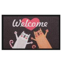 Pragovle Welcome Door mat Funny Rugs for Outdoor Home and Garden (24'X36'(60cmX90cm), 2Welcome Cat)